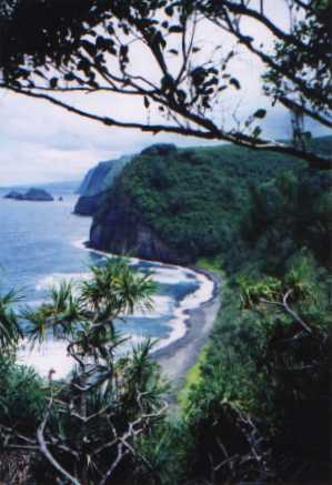 View of black sand beach from Pololu Valley Lookout, Island of Hawaii